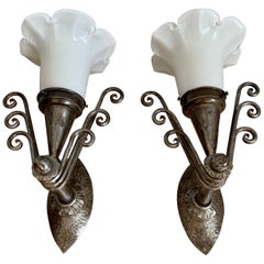Striking Arts & Crafts Wrought Iron Wall Sconces with Flowery Glass Shades, Pair