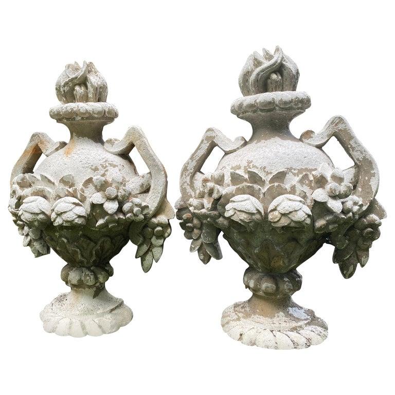Striking Pair of Cast Concrete Urn Motife Garden Ornaments For Sale