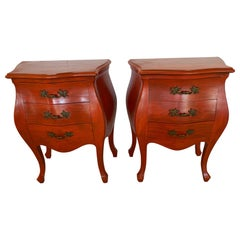 Striking Pair of French Style Pumpkin Orange Bombay Nightstands