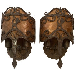 Striking Pair of Gothic Style Iron and Mica Wall Sconces