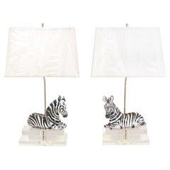 Striking Pair of Italian Zebra Sculptures, circa 1970, as Custom Lamps