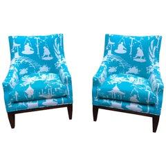 Striking Pair of Lee Jofa Fireside Club Chairs