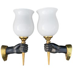 Striking Pair of Maison Baguès Style Opposite Hand Sconces w Opaline Glass Shade