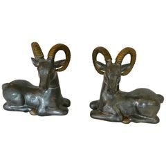 Striking Pair of Mid-Century Modern Mixed-Metal Ram Sculptures