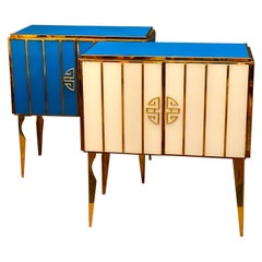 Striking Pair of Midcentury Style  Brass and Colored Murano Glass Cabinet, 2020