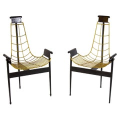 Striking Pair of Original Midcentury Katavolos T Armchairs, 1955
