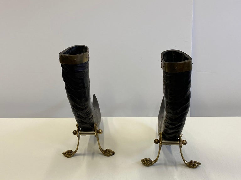Striking Pair of Sculptural Authentic Buffalo Horns with Brass Mounts and Bases For Sale 5