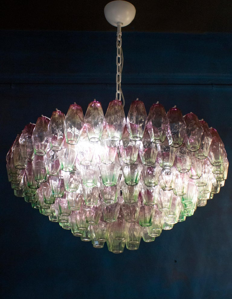Striking Poliedri Pink and Green Murano Glass Chandelier, 1970 For Sale 3