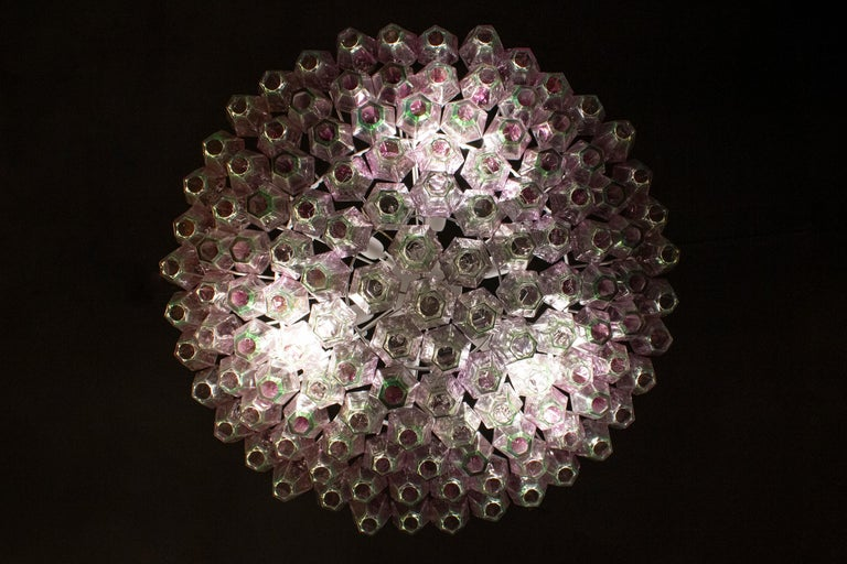 Striking Poliedri Pink and Green Murano Glass Chandelier, 1970 For Sale 4