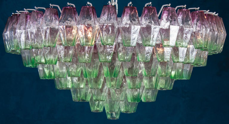 Midcentury large Poliedri chandelier with rare combination of pink and green colored murano glass. Available also the pair.