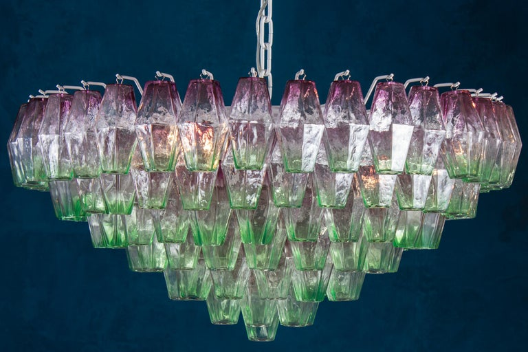 Mid-Century Modern Striking Poliedri Pink and Green Murano Glass Chandelier, 1970 For Sale
