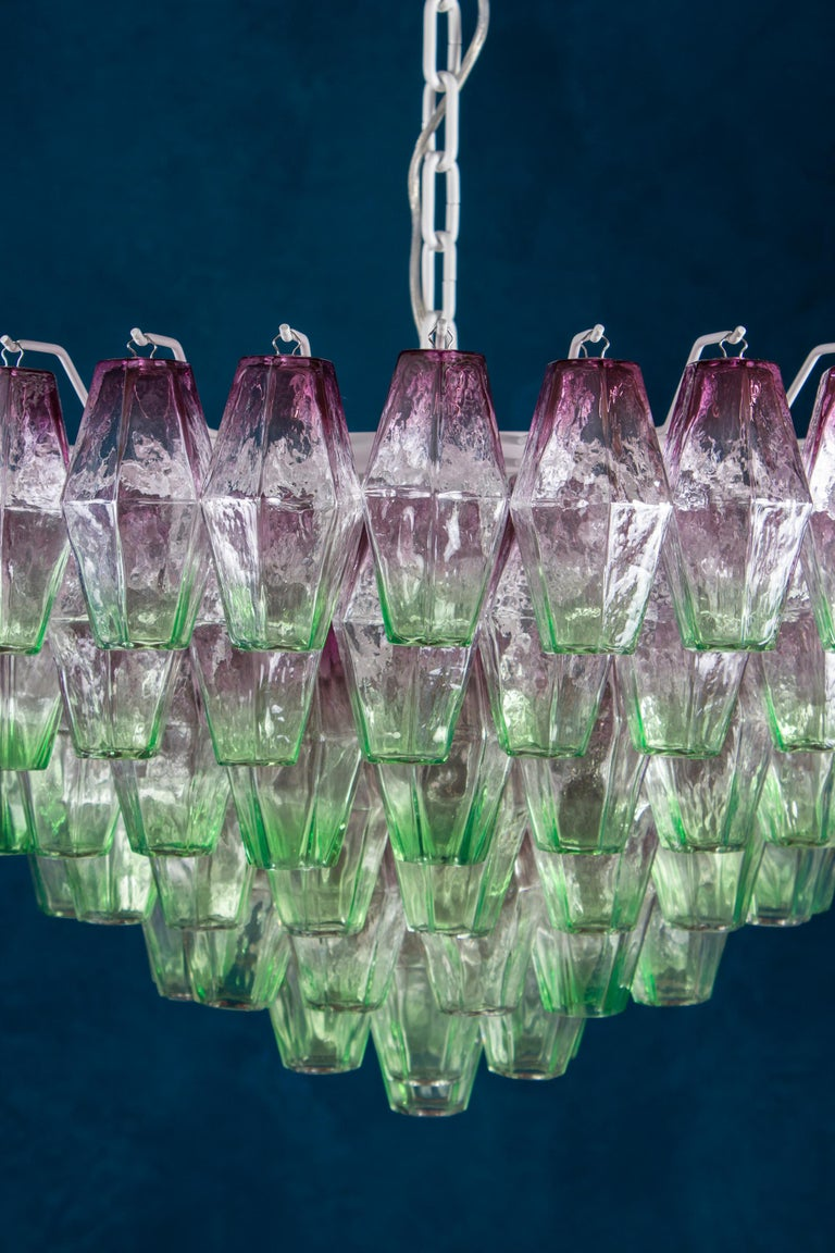 Italian Striking Poliedri Pink and Green Murano Glass Chandelier, 1970 For Sale