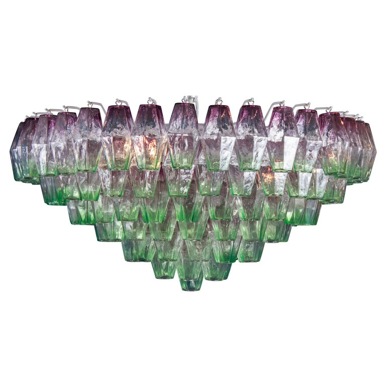 Striking Poliedri Pink and Green Murano Glass Chandelier, 1970 For Sale