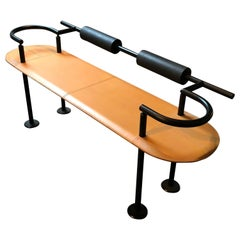 Striking Postmodern High Style Designer Leather Bench by Cy Mann