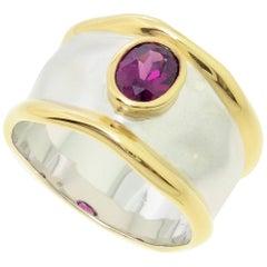 Striking Rhodolite Garnet Solitaire Sterling Silver Ring Estate Fine Jewelry