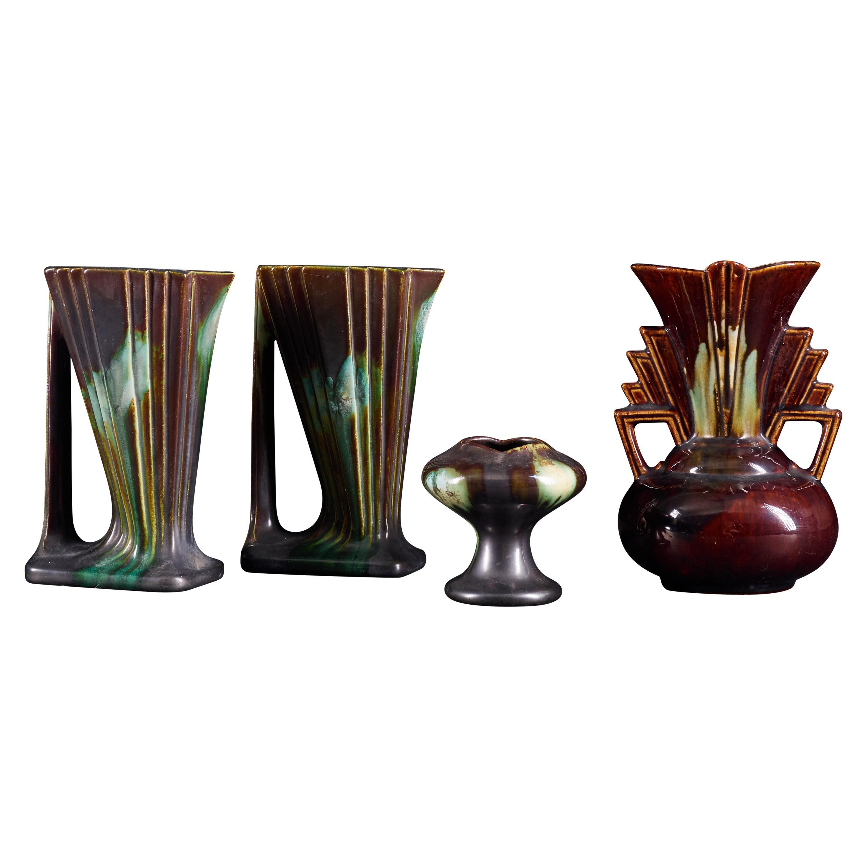 Striking Set of 4 Art Deco Drip Faiencerie Belgian Vases