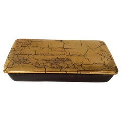 Striking Signed Bitossi Italian Box in Crackled Gold Glaze