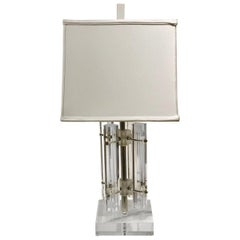 Striking Solid Lucite and Chrome Table Lamp