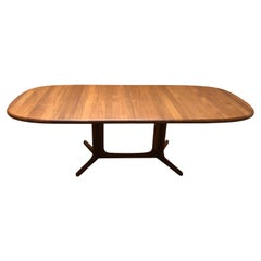 Striking Solid Teak Danish Modern Large Oval Dining Table