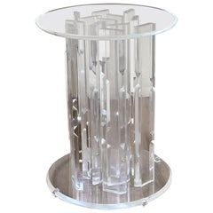 Striking Solid Thick Lucite Sculptural Table Dining Base