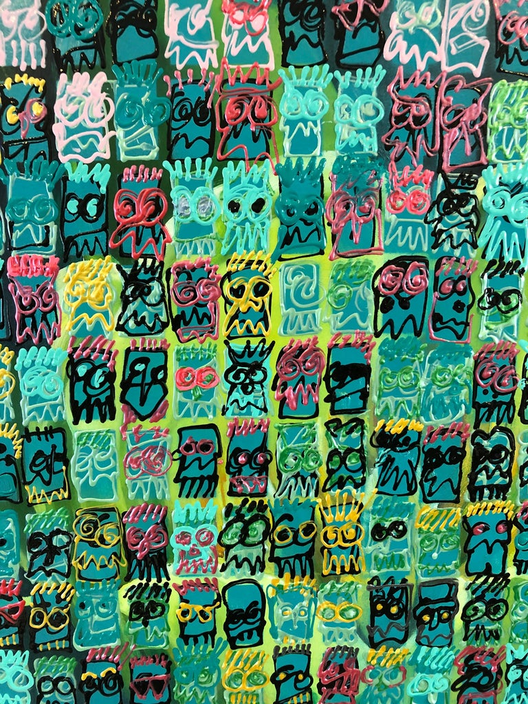 Meticulously painted modern painting by Bucks County artist Wayne Cunningham having a busy grid of his signature Pac Man like self portraits in a riot of colors including chatreuse green background and marvelous contrasting black, magenta,