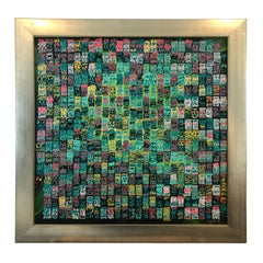 Striking Square Modern Abstract Painting in Silver Frame