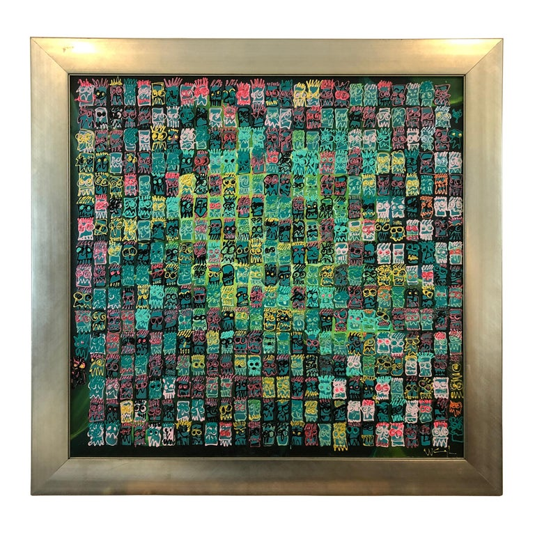 Striking Square Modern Abstract Painting in Silver Frame For Sale
