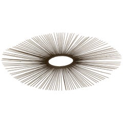 Striking Sunburst Metal Wall Art Sculpture by Jere