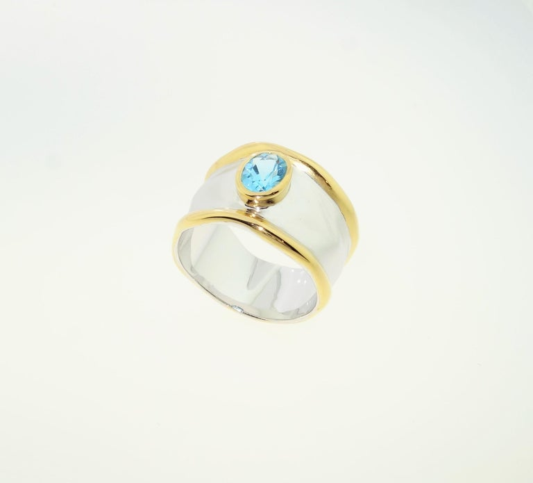Women's Striking Swiss Blue Topaz Solitaire Cocktail Sterling Silver Ring Fine Jewelry For Sale
