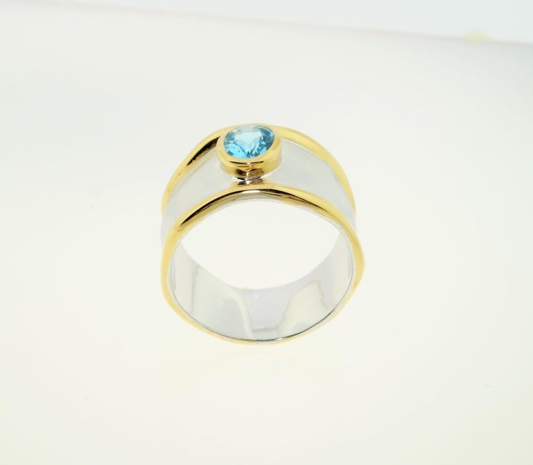 Striking Swiss Blue Topaz Solitaire Cocktail Sterling Silver Ring Fine Jewelry For Sale 2