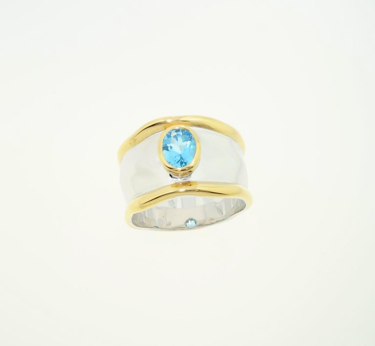 Striking Swiss Blue Topaz Solitaire Cocktail Sterling Silver Ring Fine Jewelry For Sale 3