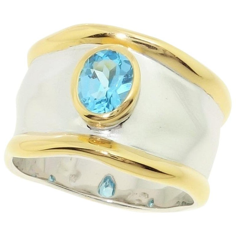 Striking Swiss Blue Topaz Solitaire Cocktail Sterling Silver Ring Fine Jewelry For Sale