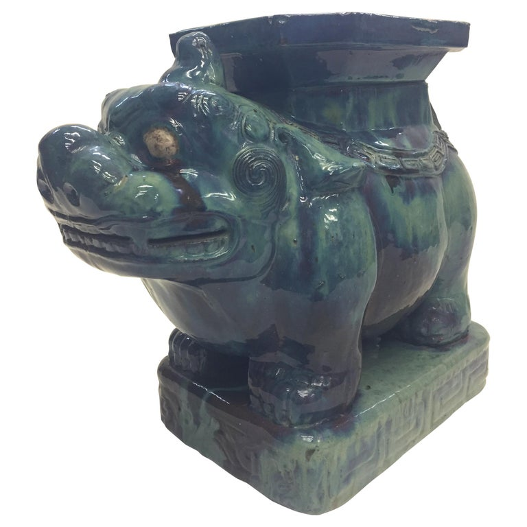 Striking Turquoise Asian Foo Dog Garden Seat For Sale