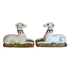 Striking Unusual Pair of Italian Ceramic Recument Whippets Greyhounds Sculptures