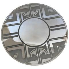 Striking Vintage Art Deco Round Mirror