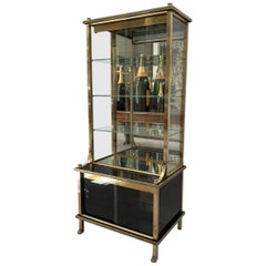 Striking Vintage Cabinet-Brass and Glass