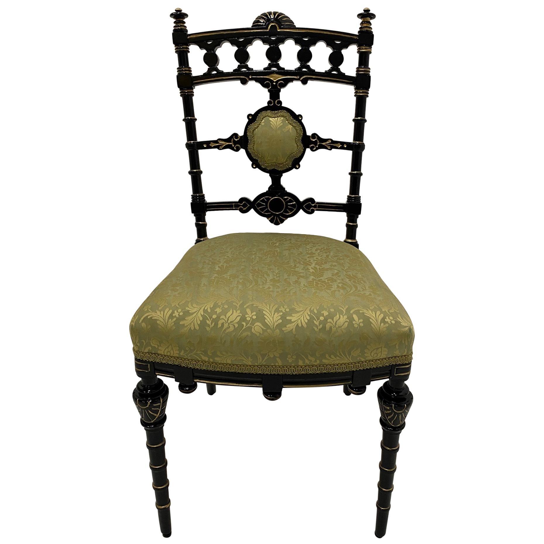 Strikingly Decorative Victorian Aesthetic Movement Gilt & Ebonized Chair