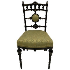 Strikingly Decorative Victorian Aesthetic Movement Gilt & Ebonized Chair