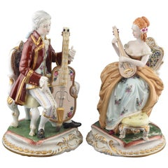 """String Duet"", Pair of Porcelain Figurines, after Models from Sèvres 'France'"