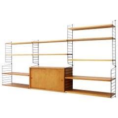 String Wall System Shelf in Teak Nisse Strinning, 1950s