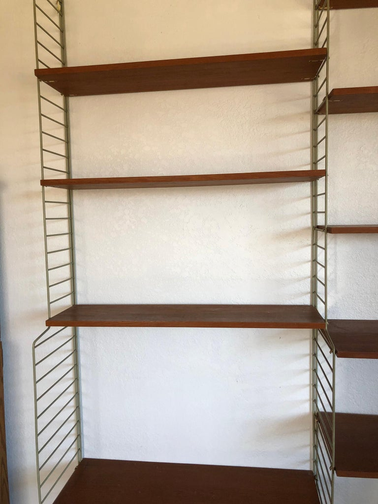 String Wall Unit Ladder Shelf by Nils Nisse Strinning, 1960s, Sweden In Good Condition In Tempe, AZ
