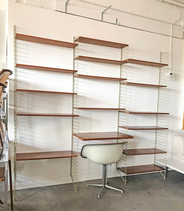 Mid-20th Century String Wall Unit Ladder Shelf by Nils Nisse Strinning, 1960s, Sweden