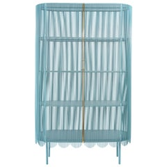 Strings Storage Cabinet Blue Gold by Nika Zupanc