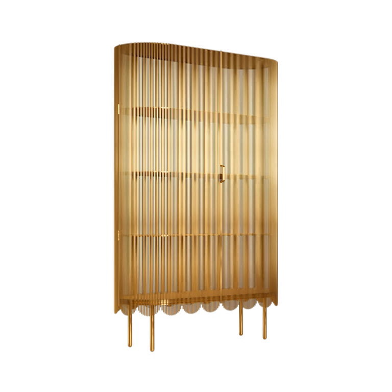 Modern Strings Storage Cabinet Gold by Nika Zupanc For Sale