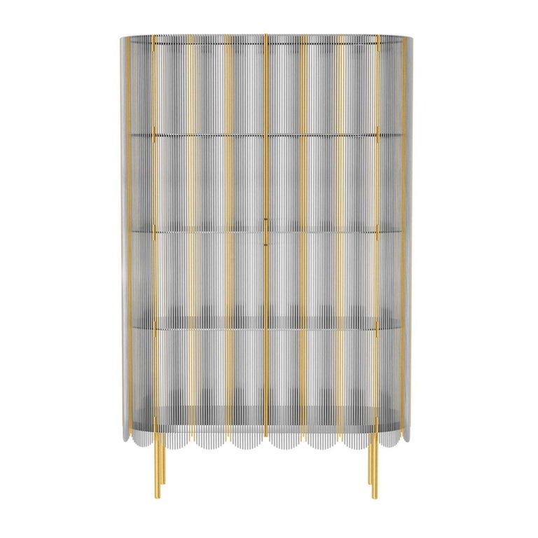 Strings Storage Cabinet Silver Gold by Nika Zupanc is a tall metal cabinet made of multiple steel