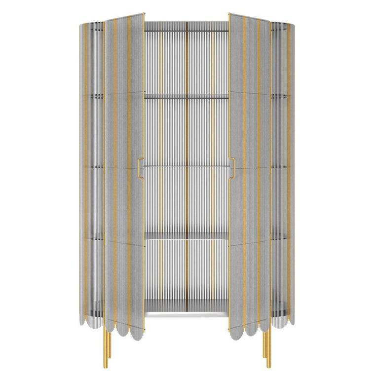 Modern Strings Storage Cabinet Silver Gold by Nika Zupanc For Sale