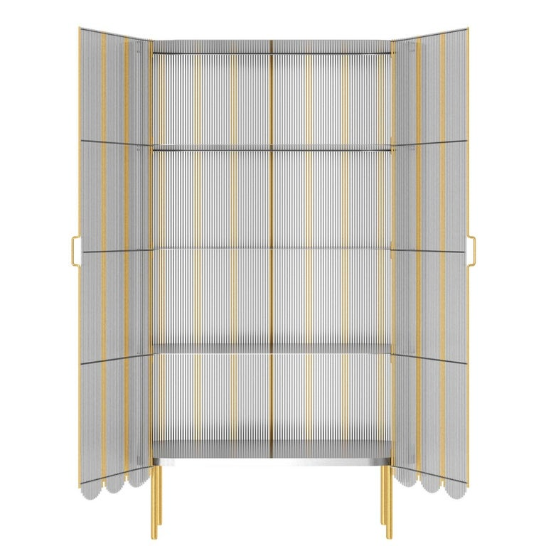 Indian Strings Storage Cabinet Silver Gold by Nika Zupanc For Sale