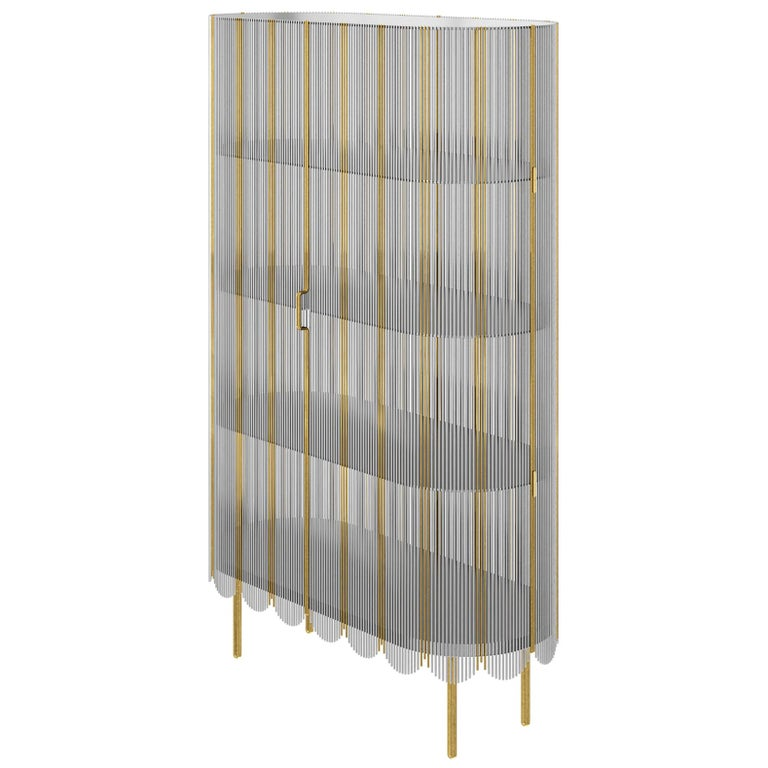 Strings Storage Cabinet Silver Gold by Nika Zupanc For Sale