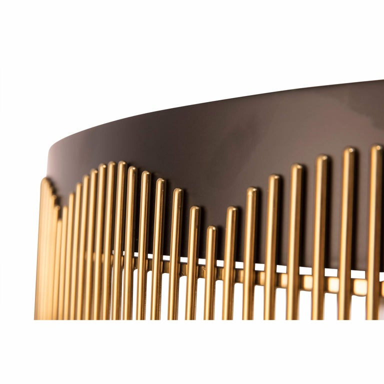 Modern Strings Gold and Black Metal Coffee Table by Nika Zupanc For Sale