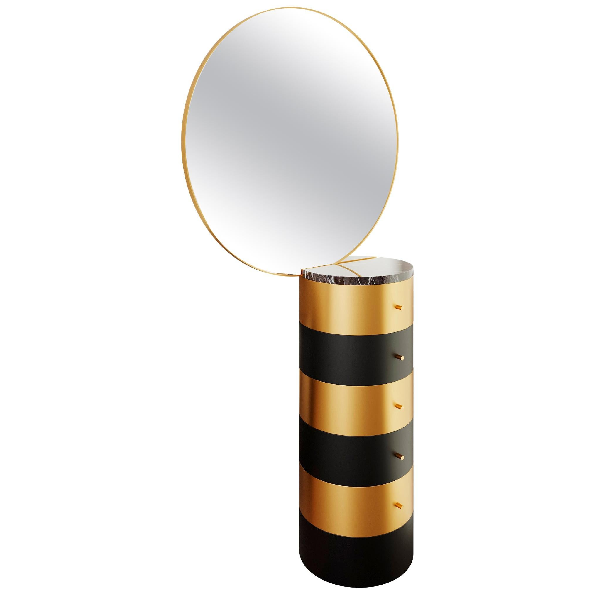 Strings Gold and Black Metal Vanity Table with Mirror by Nika Zupanc